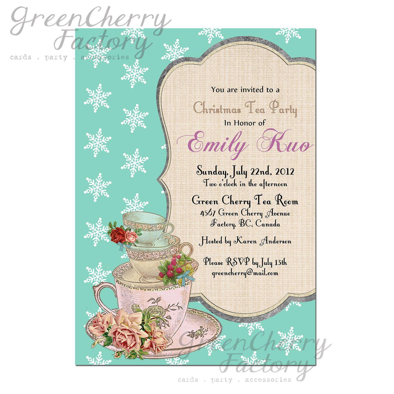 Christmas Tea Party Invitation - SnowFlake Tiffany Blue Background ...