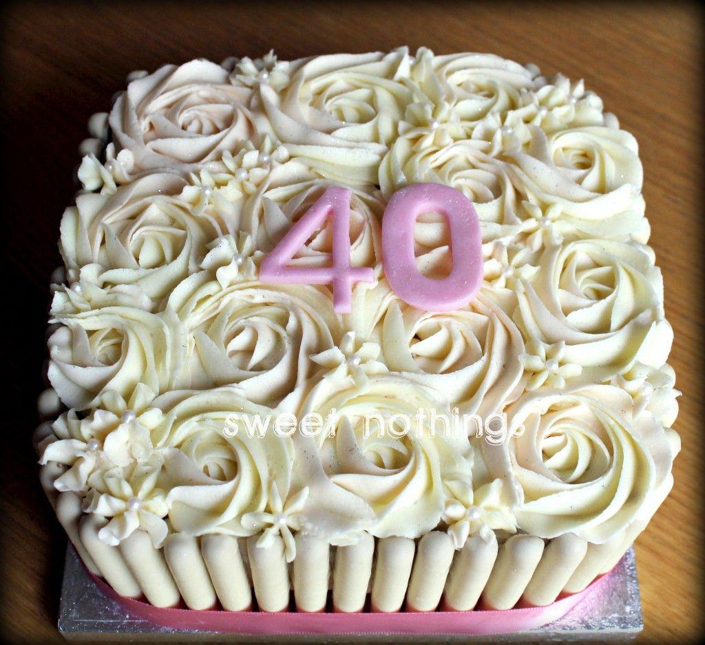 Rose Swirl Cake Design : Rose swirl square birthday cake - Sweet nothings ...