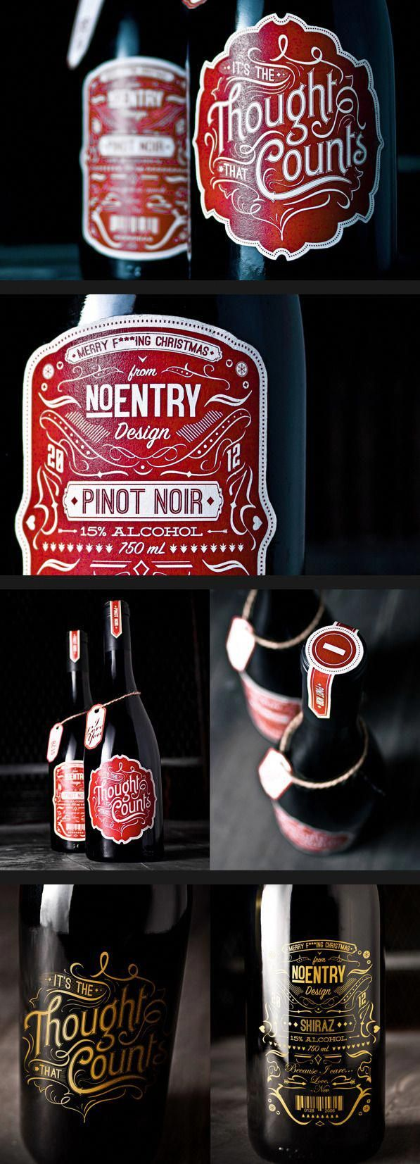 It S The Thought That Counts Wine Labels By No Entry Design Taninotanino Vinosmaximum Winebrands Wine Bottle Design Bottle Label Design Wine Label Design