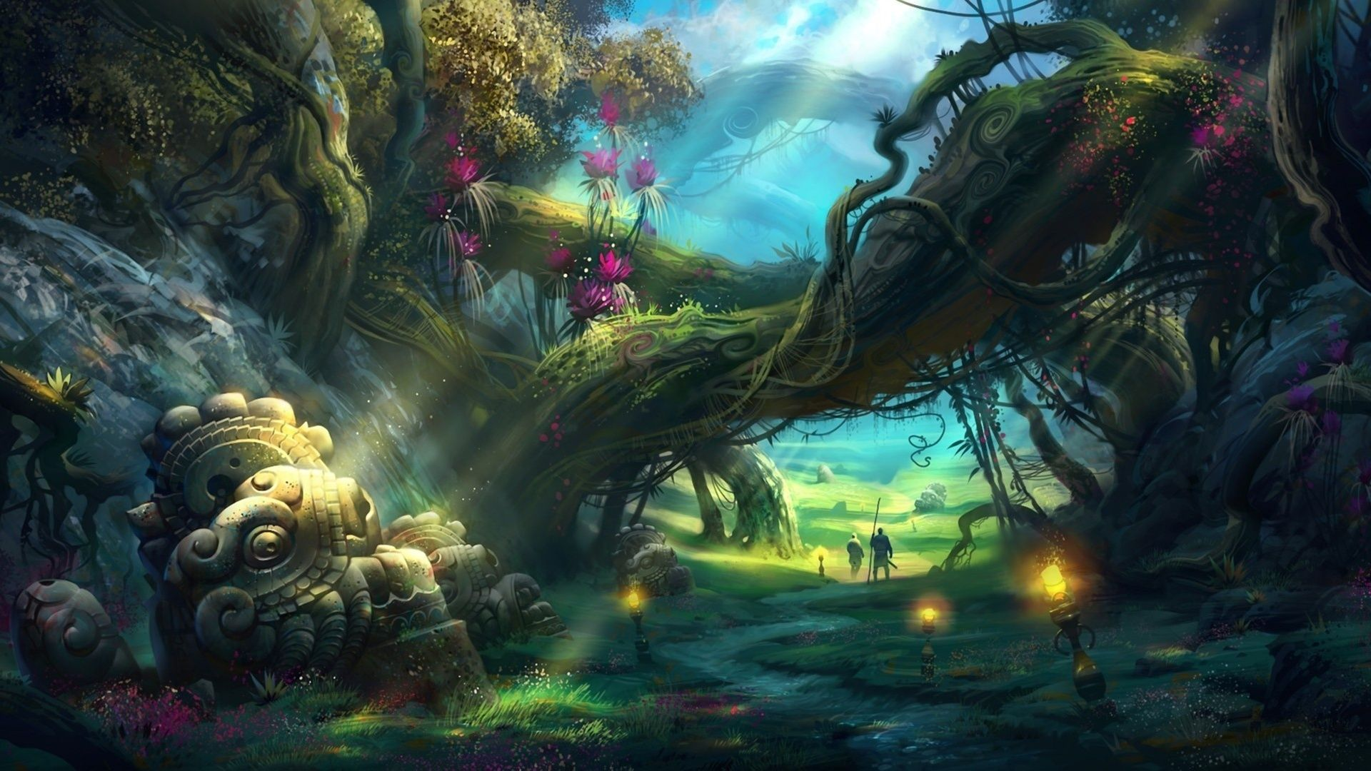 Hd Wallpaper Computer Wallpapers Desktop Backgrounds 1920x1080 Id Fantasy Art Landscapes Fantasy Forest Fantasy Landscape