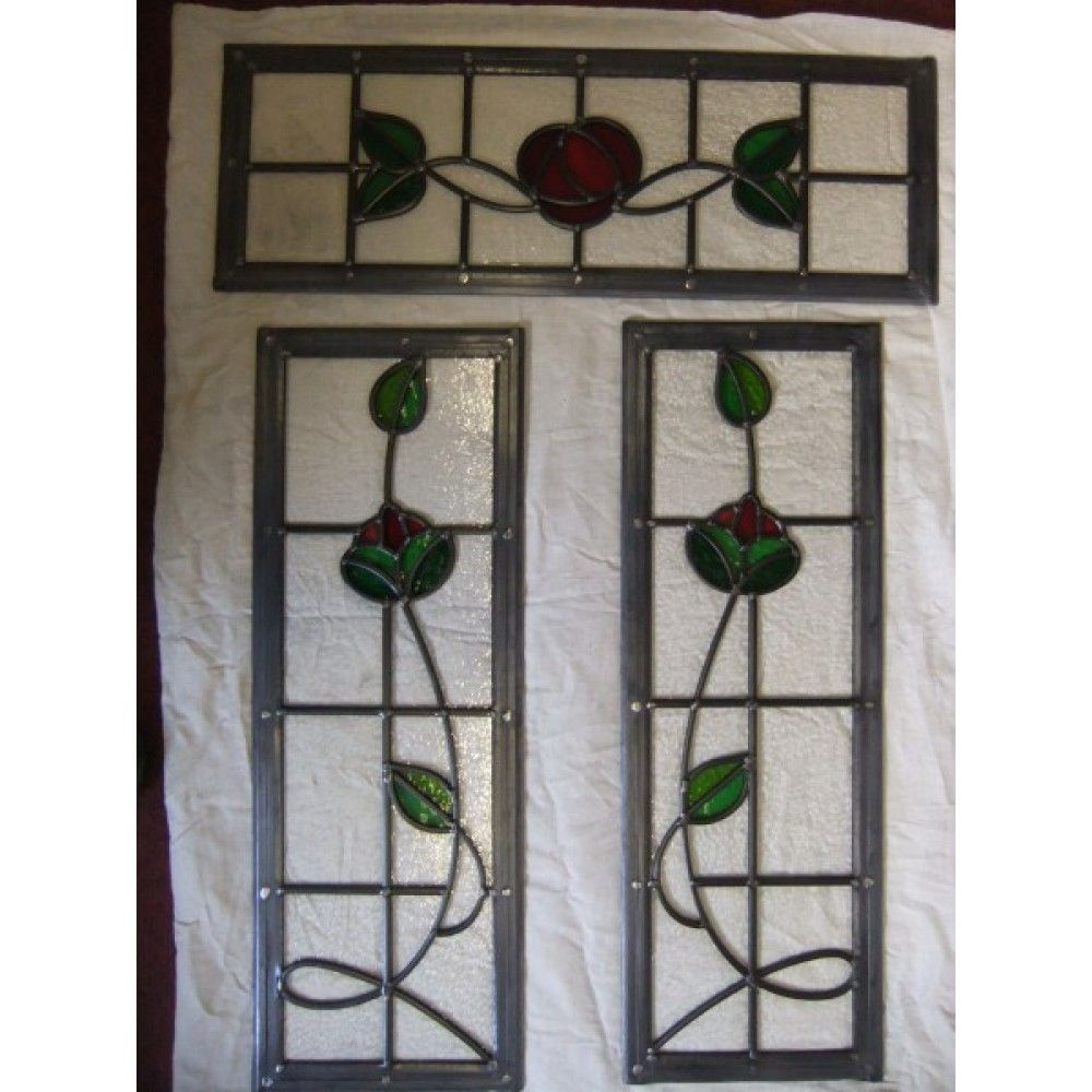 066 handmade stained glass 3 panel rose design glas in lood 066 handmade stained glass 3 panel rose design planetlyrics Choice Image