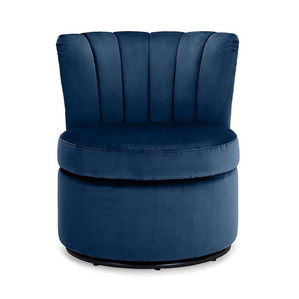 Best Esme Boudoir Swivel Chair Midnight Blue Dunelm 400 x 300