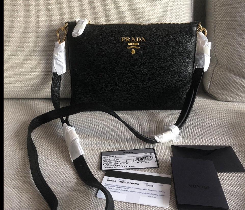 67fe08d6370f62 PRADA Bag VITELLO PHENIX Leather Small Crossbody Shoulder Black ITALY $1950