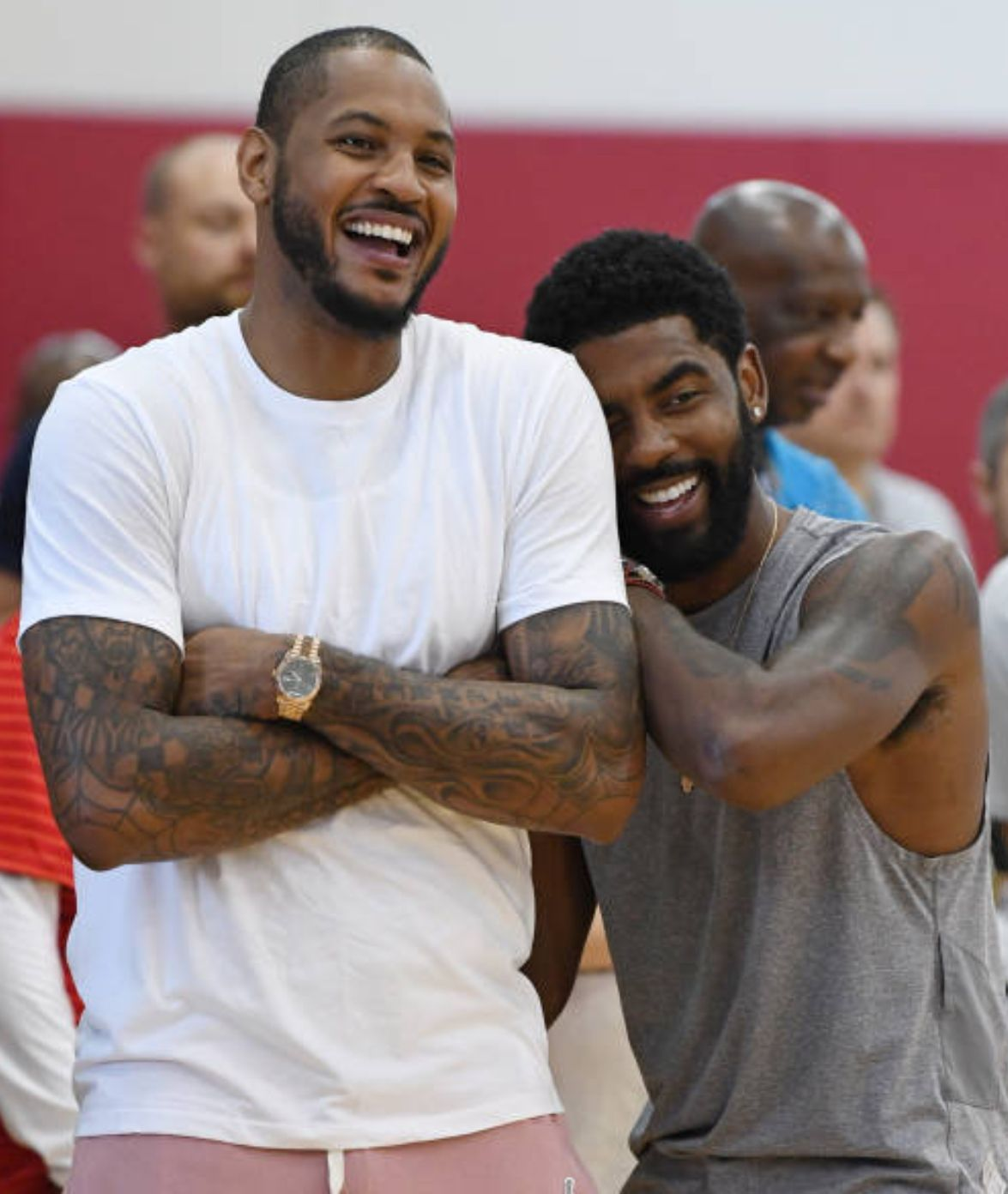 I remember when Melo and Kyrie played a pick up game during summer 17' and people were gassed because we thought Kyrie was recruiting him to the Cavs. #KyrieIrving #CarmeloAnthony