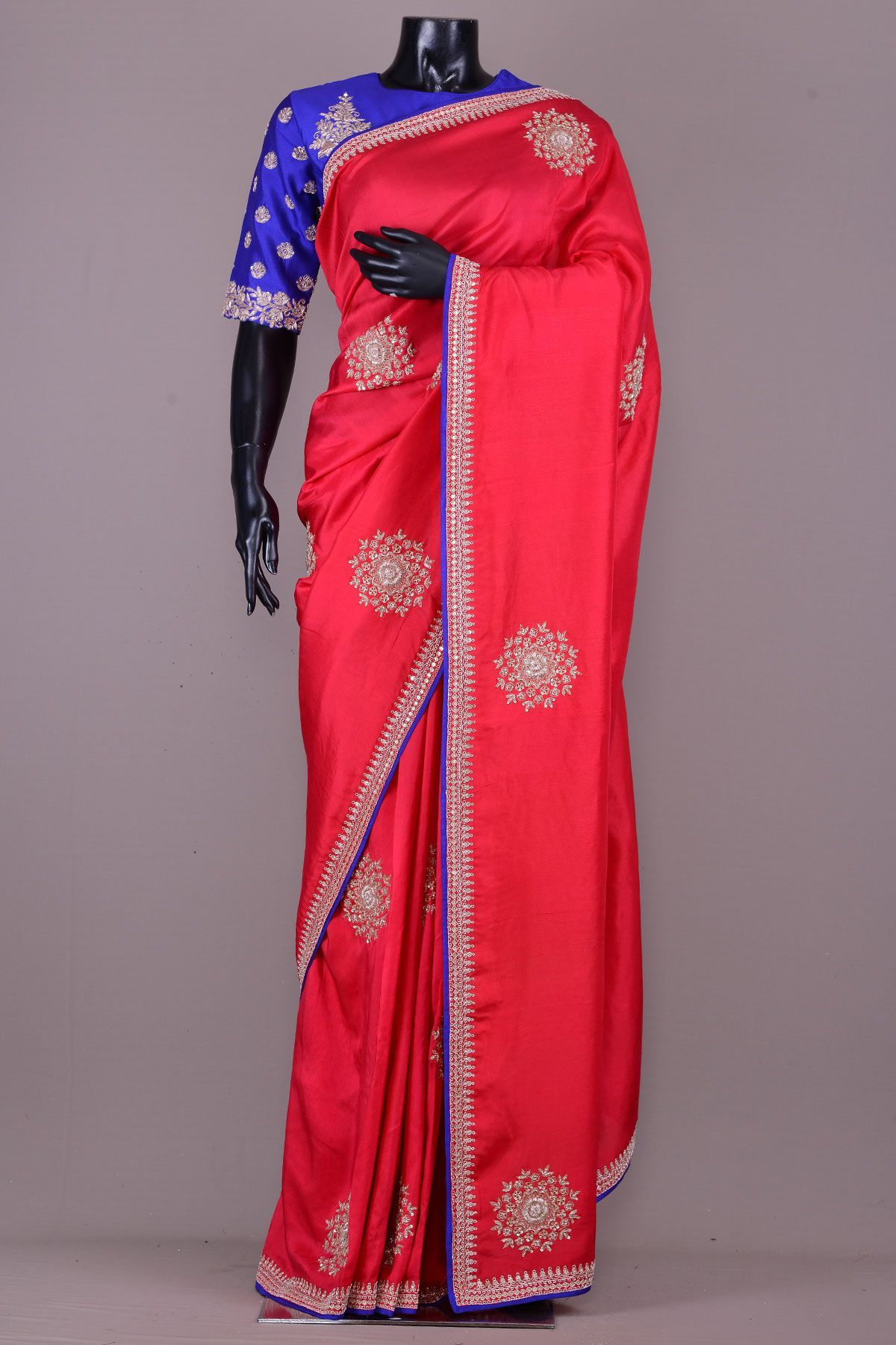 Bright Red Zardosi Embroidered Tussar Silk Saree Vj3414 Designer Saree Blouse Patterns Elegant Saree Tussar Silk Saree