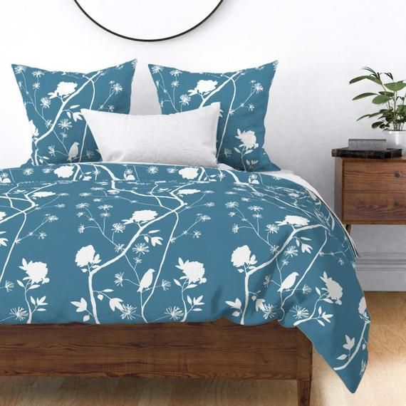 Chinoiserie Duvet Cover - Simple Peony On Pool Blue by domesticate - Bird  Blue Peony  Cotton Sateen Duvet Cover Bedding by Spoonflower #bluepeonies