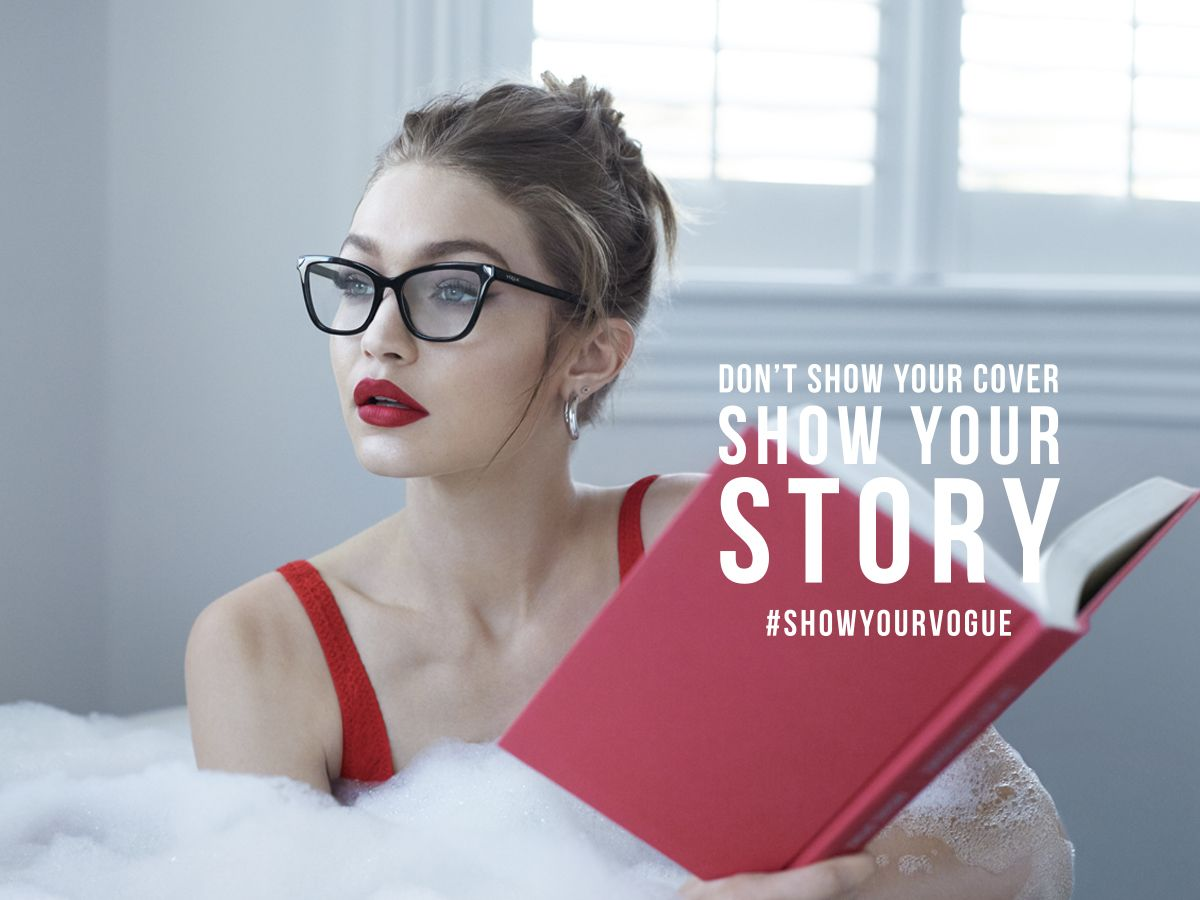 4a1a7200f57c4 Gigi Hadid knows everyone has a story worth reading. Tell yours in Vogue  Eyewear.