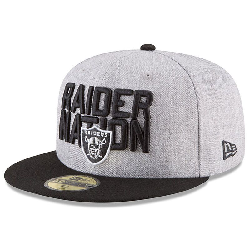 super cute 31f6b 64d1c Oakland Raiders New Era Youth 2018 NFL Draft Official On-Stage 59FIFTY  Fitted Hat – Heather Gray Black