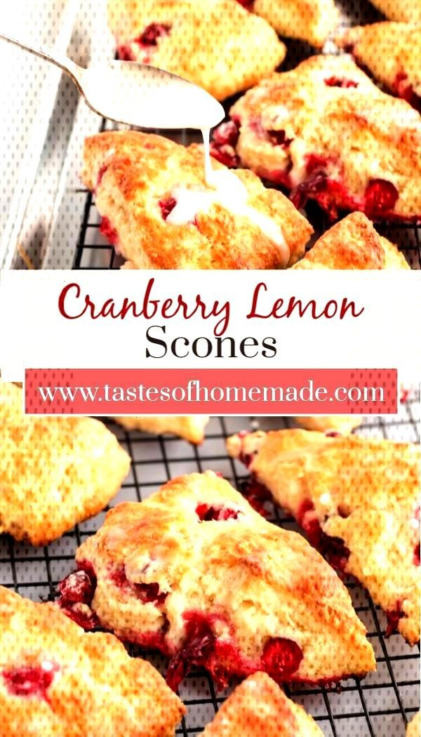 light and fluffy scone loaded with fresh cranberries and finished with a lemon drizzle. Just like y