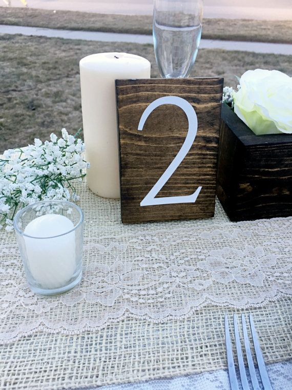 Wedding Double Sided Table Numbers, Vertical Wooden Table Numbers ...