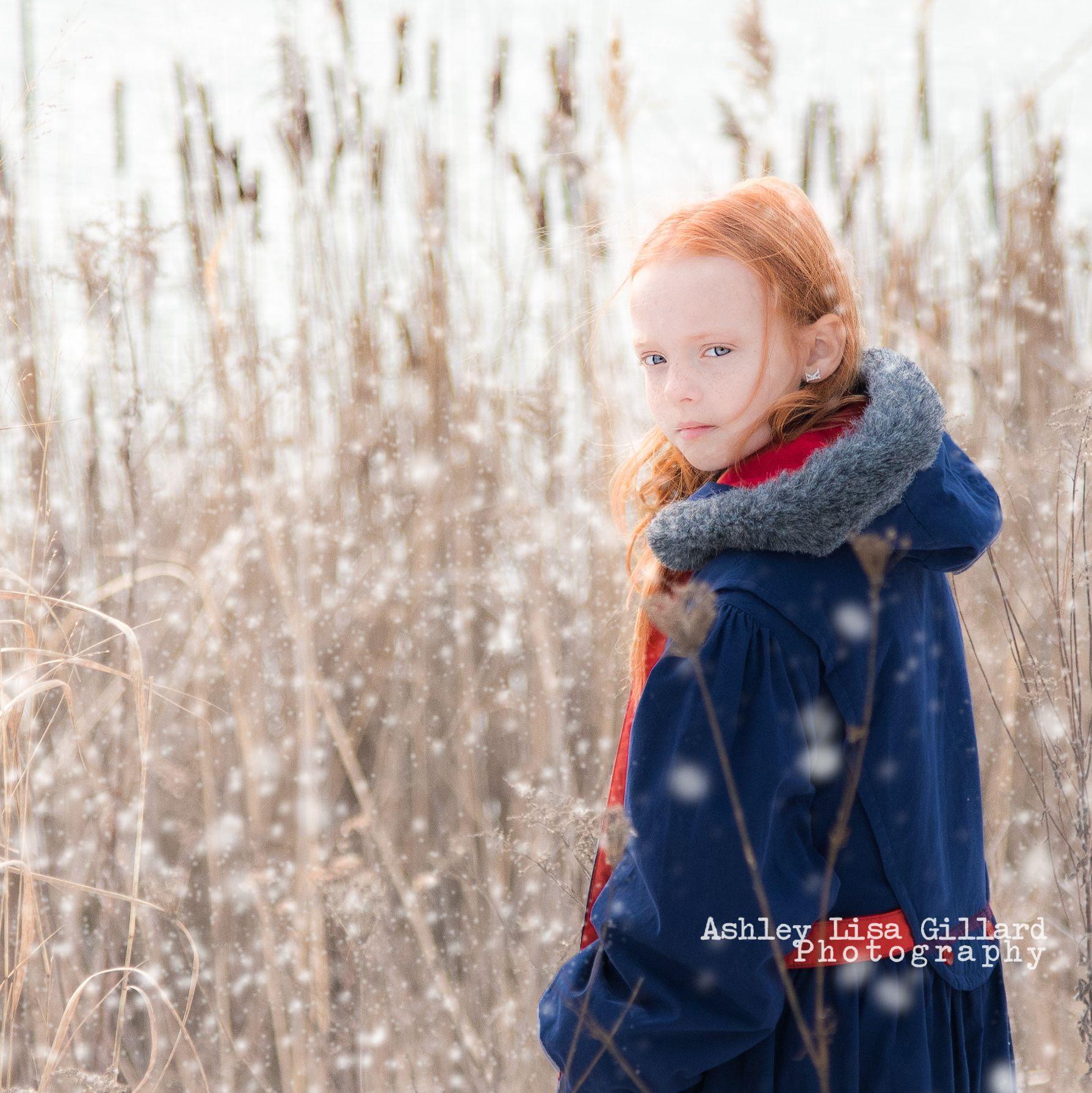 Kyrah Winter Portrait - Nine year old in snow - child portrait, snow, snow portrait