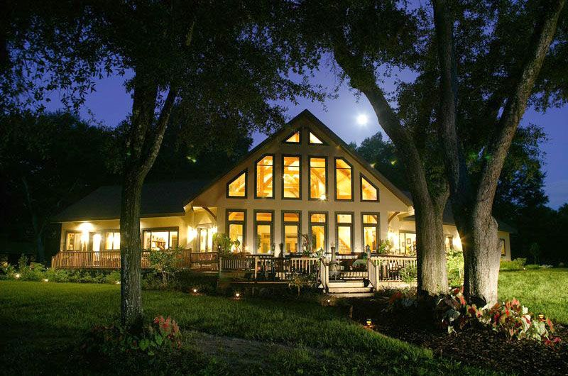 Natural Light Fills The Great Room In This Florida Timber Frame Timber Frame Homes Log Home Builders Timber Frame