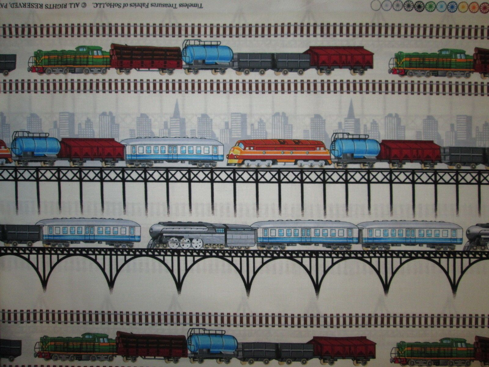 Vintage Train Signs Locomotive Black Cotton Fabric BTHY