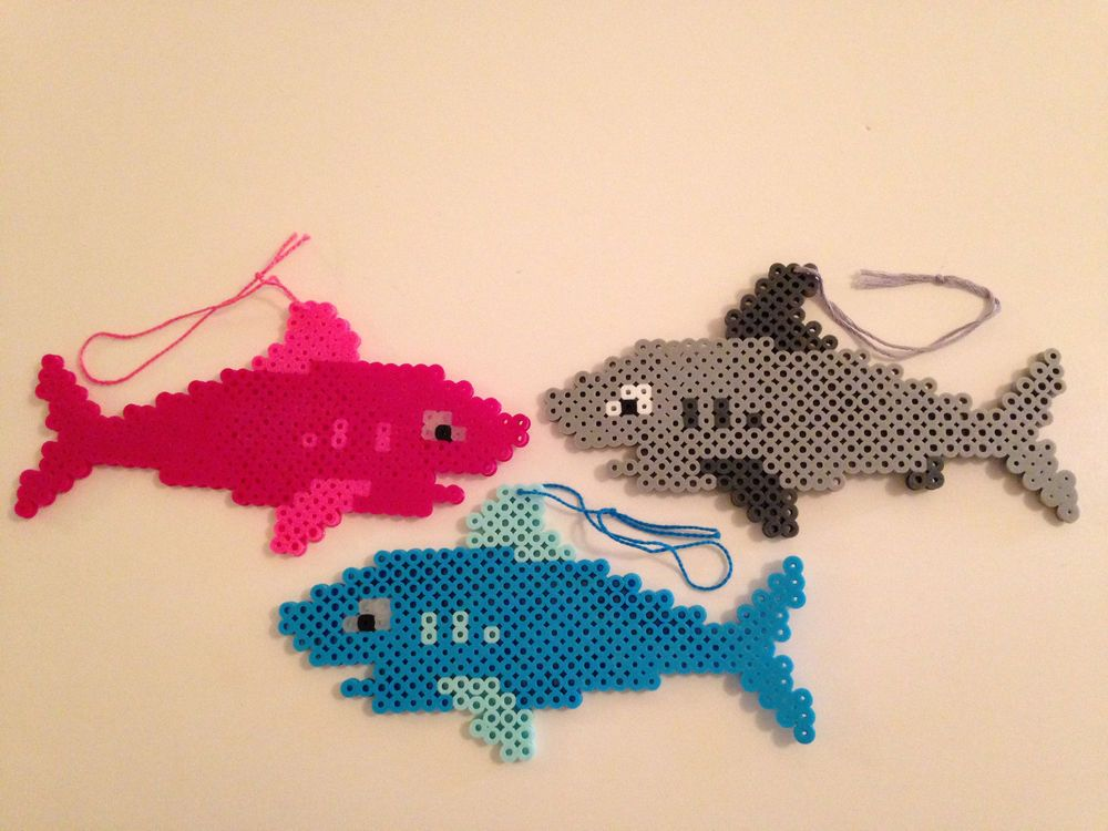 Shark Ornament -Pink, Gray or Blue