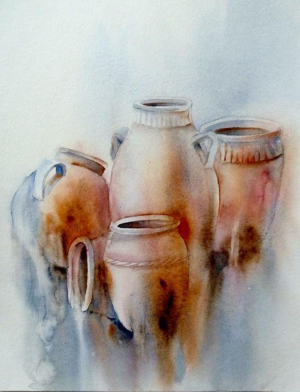 Sobornos Terre30x40 Peinture Acrylique Abstraite Aquarelle
