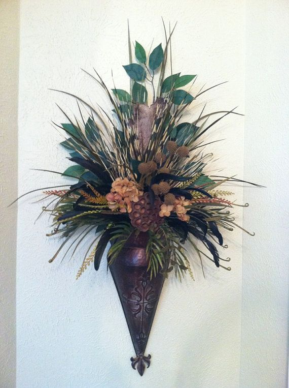 Single Wall Sconce - Feather Wall Pocket - Dried Pod ... on Decorative Wall Sconces For Flowers Arrangements id=94611