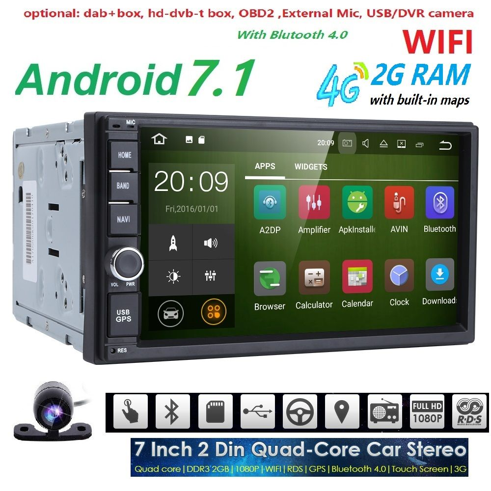 Quad Core Autoradio 2 Din Android 7 1 Radio Gps Navigation Car Dvd