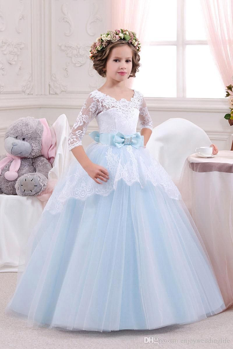 2016 Elegant Light Blue Flower Girls Dresses V Neck Half Sleeves Lace Ball Gown Pageant Gowns For Girls Custom Made Flower Girl Dress Canada Flower Girl Dress Shop From Enjoyweddinglife, $82.73| Dhgate.Com