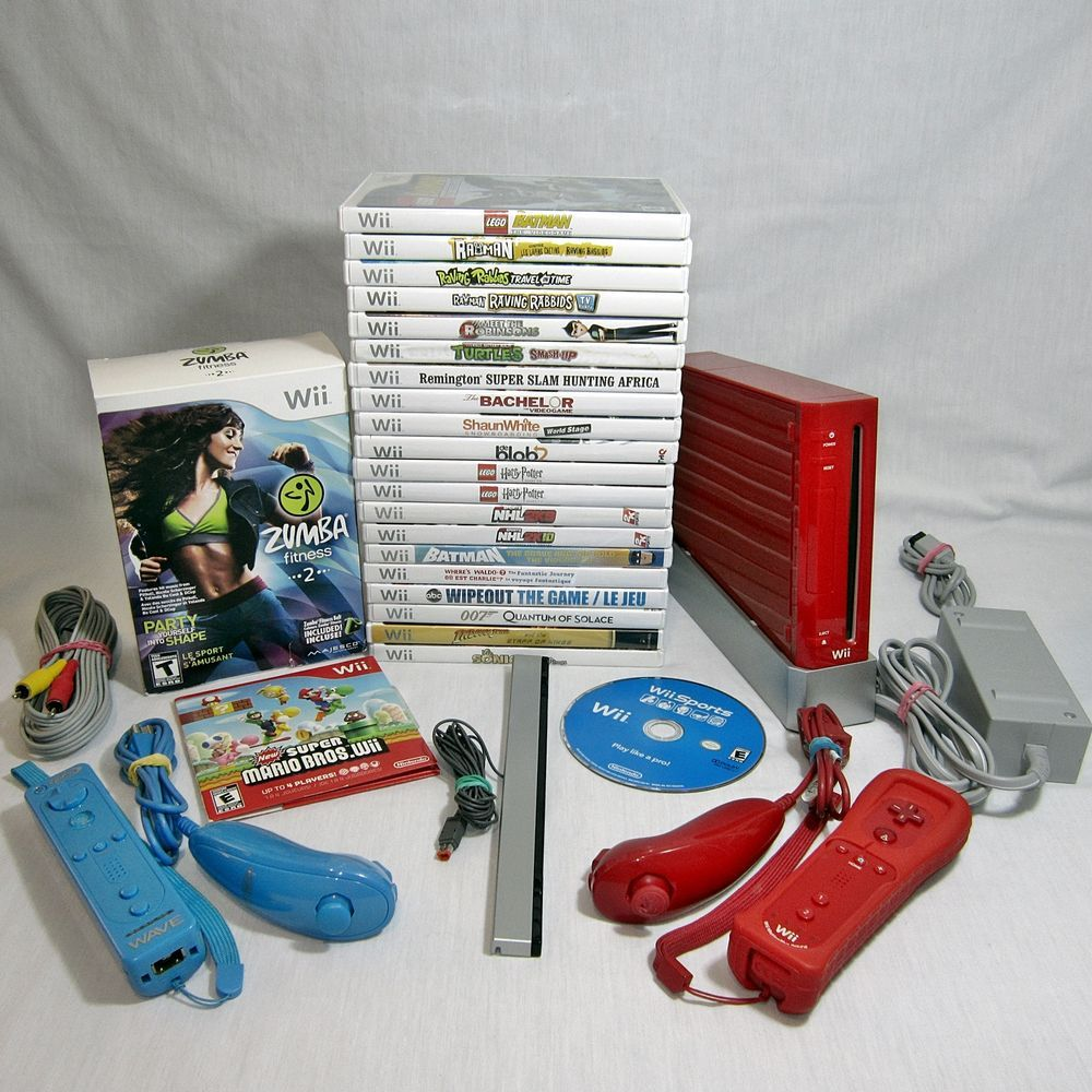 Red Nintendo Wii Rvl 001 Usa Ntsc Gamecube Compatible 23 Games