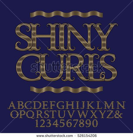Wavy Lines Patterned Gold Capital Letters And Numbers Decorative Vintage Font Isolated English Alphabet With Text Shiny Curls