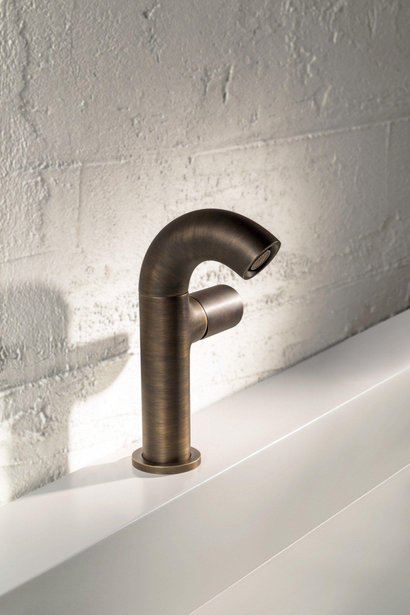 ZAZZERI POP Miscelatore per lavabo monoforo Industrial Look combinazione  ottone brunito-ottone brunito