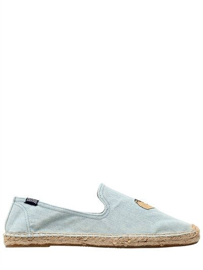 SOLUDOS TACO EMBROIDERED COTTON ESPADRILLES, LIGHT BLUE. #soludos #shoes  #loafers