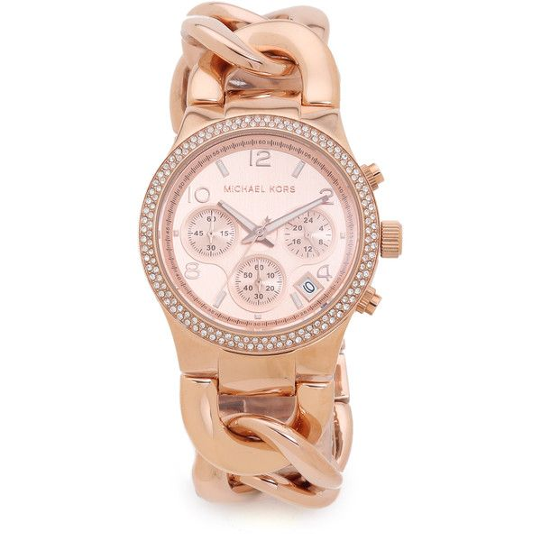 Michael Kors Touch of Glitz Runway Watch (3 555 ZAR) ❤ liked on Polyvore featuring jewelry, watches, rose gold, chrono watches, pink gold jewelry, buckle watches, red gold jewelry and buckle jewelry