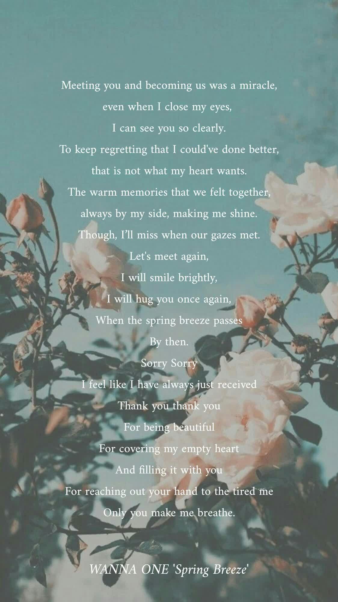 Spring Breeze Wannaone Powerofdestiny Kpop Lyrics Quotes In 2019