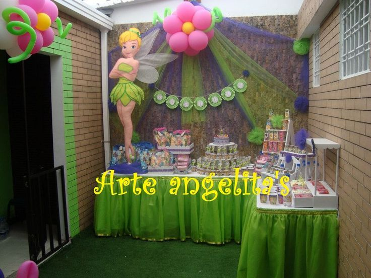 Mesa de dulces campanita car pictures e pinterest for Decoracion mesas fiestas