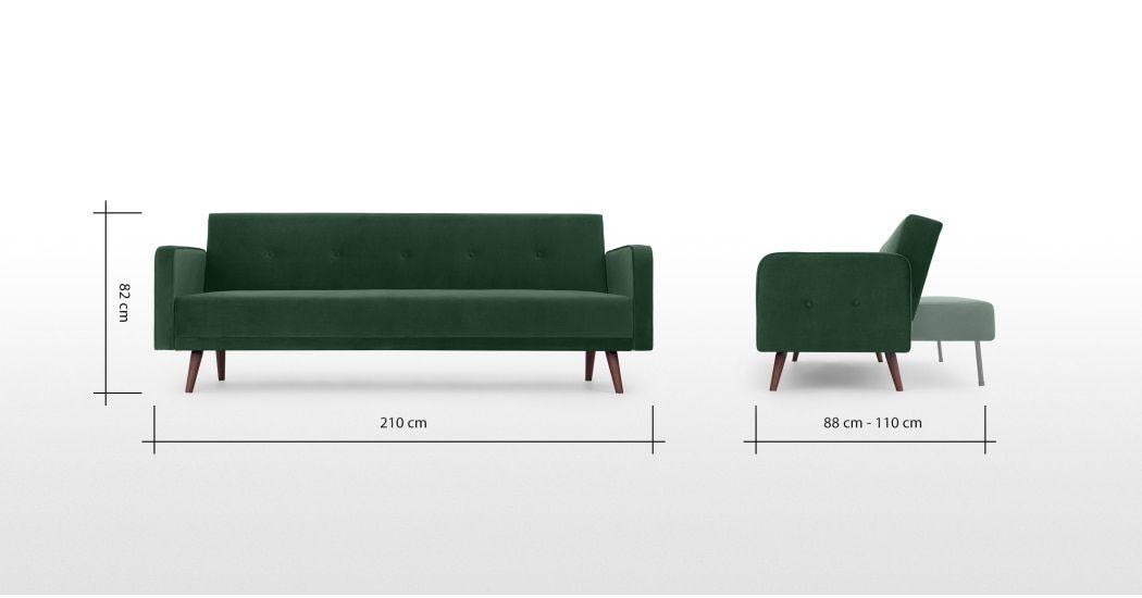 Made Pine Green Velvet Sofa Bed