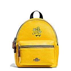 Women s backpack  Mickey Leather Mini Charlie  in yellow by Coach at  Wertheim Village e5bdc544ba446