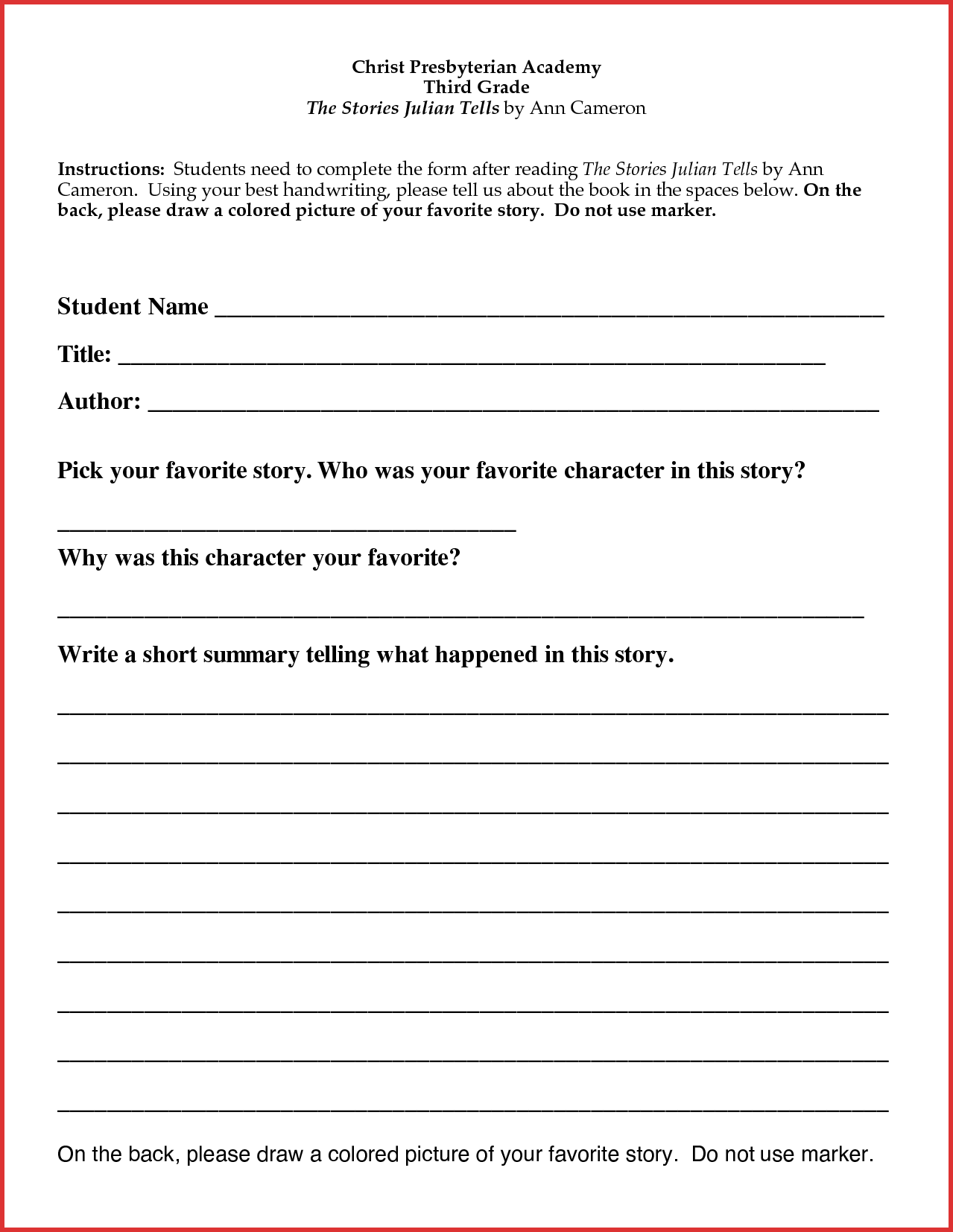 Book Report Template For 4th Grade How To Make Your Resume