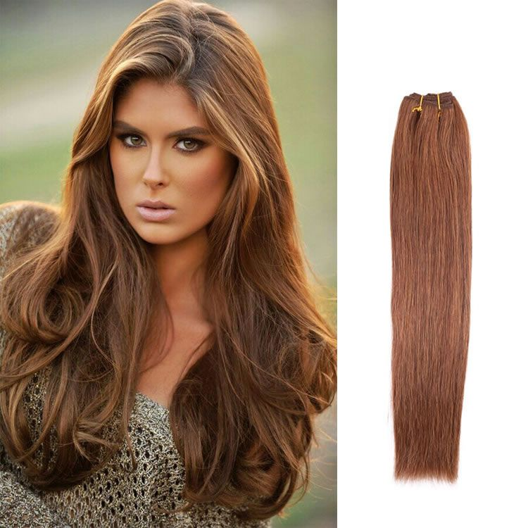 100 Brazilian Remy Human Hair Weave Extensions 6 Medium Brown Hair