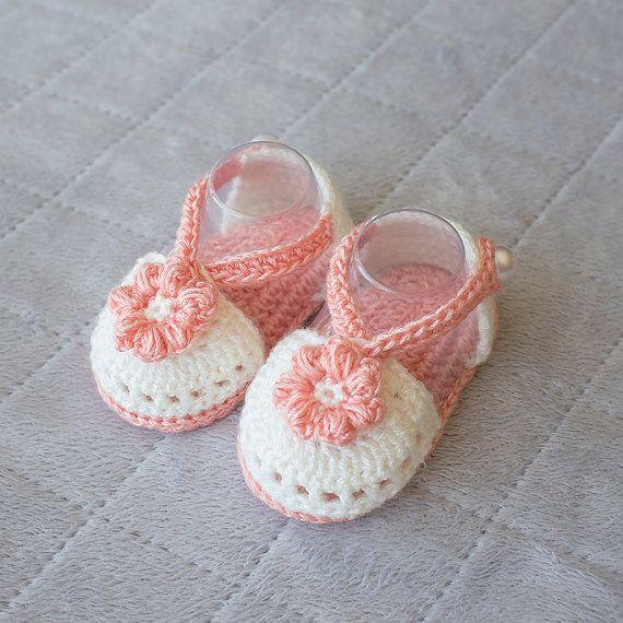 43fb6e54b64f7 Crochet Baby sandals, baby girl sandals, baby girl shoes, girl shoes ...