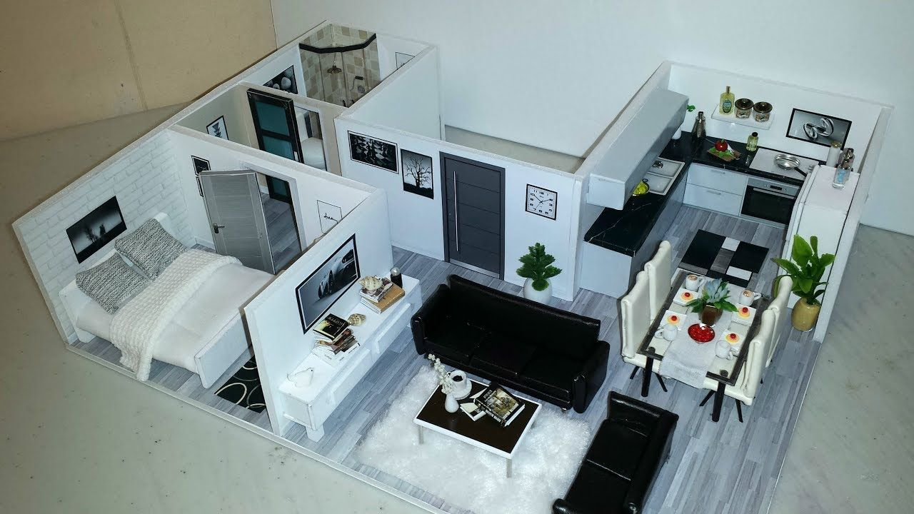 Diy Miniature Modern Dollhouse Apartment 4 Youtube Modern Dollhouse Doll House House Rooms