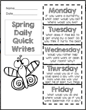 spring writing topics This spring writing prompts pack contains a total of 30 prompts for use throughout the spring season the writing prompts are open-ended and can be used for a daily response notebook or more structured and guided writing, after class/small gr.