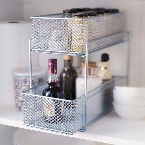 Silver Wire Mesh Kitchen Cupboard Baskets