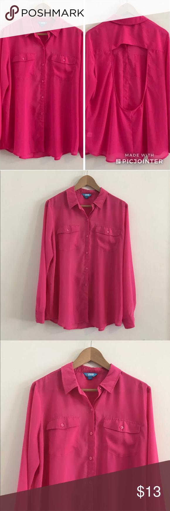 L Amore Pink Top Blouse Shirt Open Back Size Xl My Posh Picks