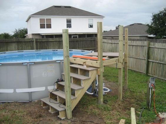 My intex 16x48 with custom deck and stairs home projects - Custom above ground pool ...