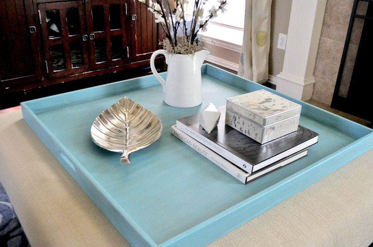 Turquoise Distressed In 2019 Tray Decor Ottoman