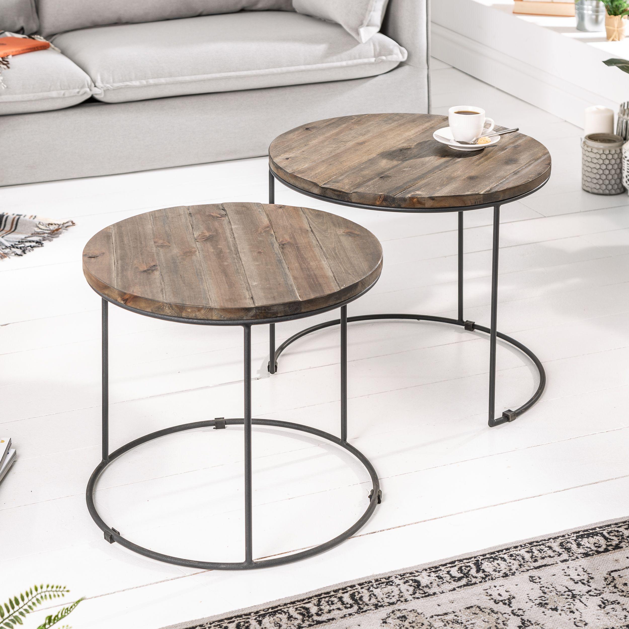 2er Set Beistelltische 50cm Akazie Riess Ambiente De Beistelltische Couchtische Tischplatte Rund