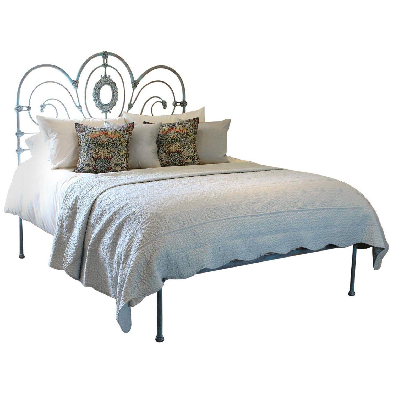 Antique Platform Bed in Blue Verdigris, MK175 Bed