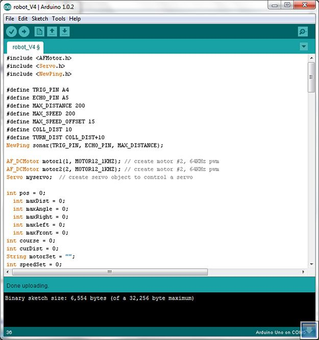 Compile the microbot source code into arduino board