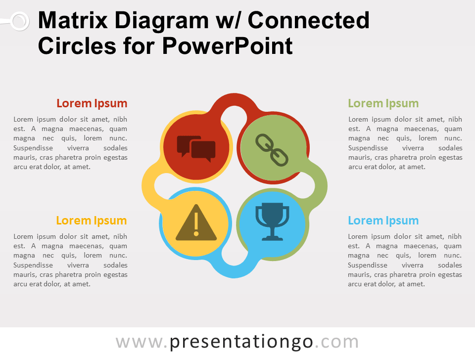 Matrix Diagram W Connected Circles For Powerpoint Presentationgo