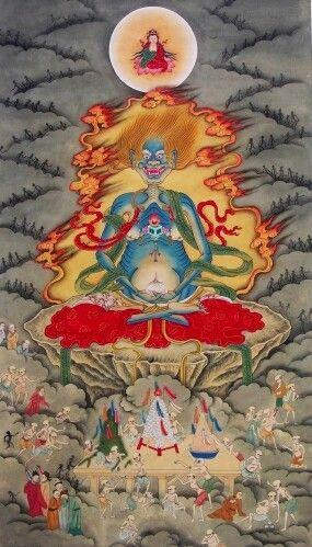 面燃大士爺。The manifestation of Guanyin Pusas compassion in the realm of hungry ghosts (preta, 餓鬼), one of the lowest realms of possible rebirth, the inhabitants of which are constantly tortured by overwhelming hunger and thirst, to be relieved only by divine assistance and offerings of later generations.