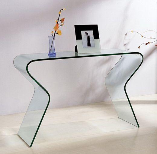 Console silver en verre courb de 15 mm transparent for Console informatique en verre