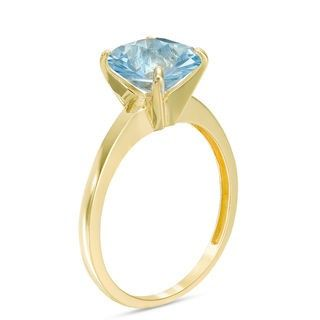 Zales 8.0mm Lab-Created Aquamarine Solitaire Ring in 10K Gold bDMh6Fr