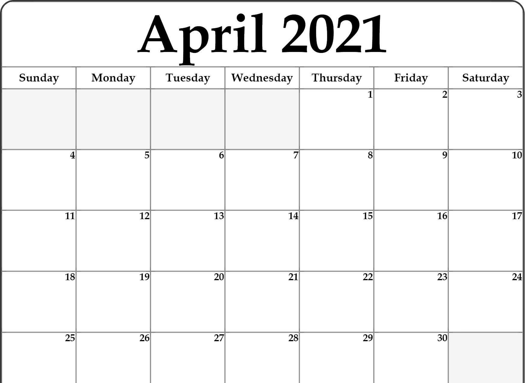 Editable April 2021 Calendar April 2021 Printable Calendar PDF | Free printable calendar