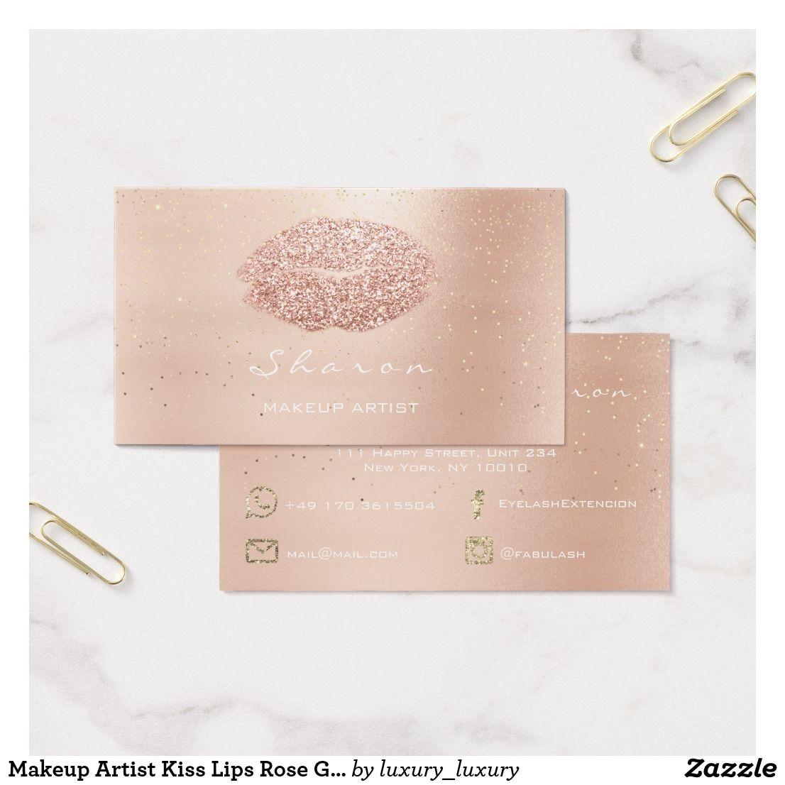 Makeup Artist Kiss Lips Rose Gold Confetti Pink Business Card