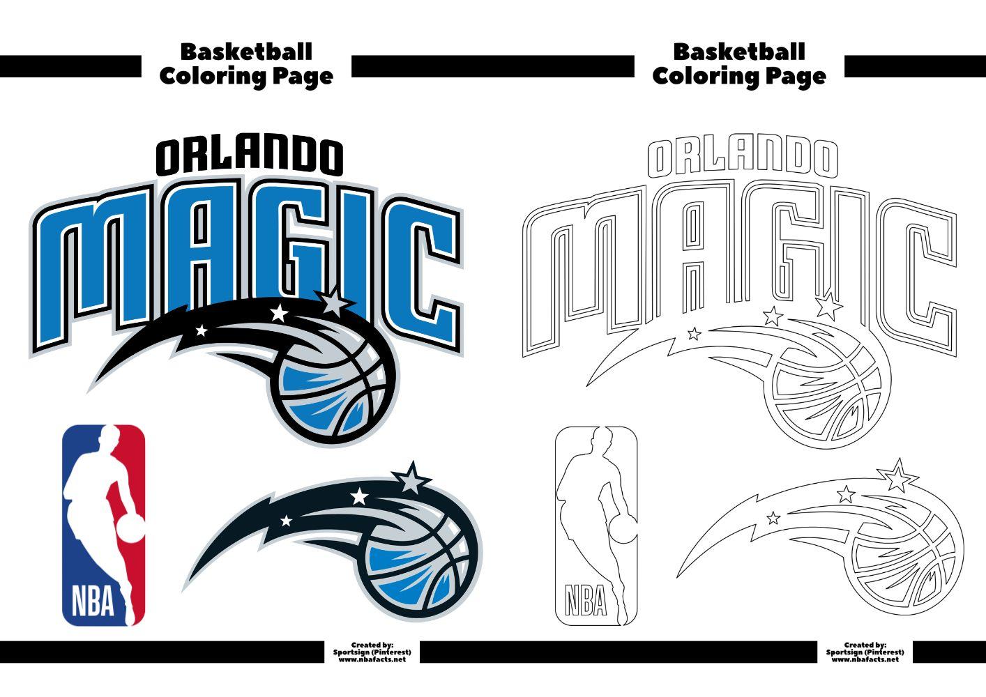 Orlando Magic Basketball Coloring Sheet in 2020 Nba logo